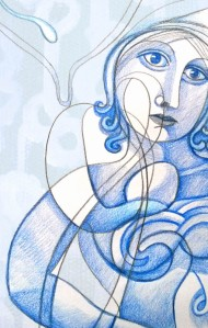 sketch of a blue woman facing outwards