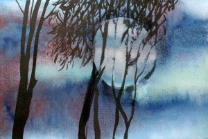 painting of full moon rising behind trees