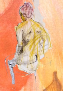 drawing of a seated woman