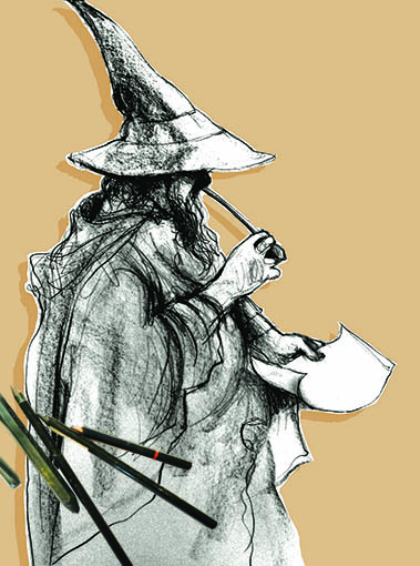 drawing of Gandalf the Grey